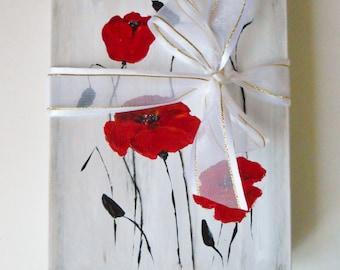 Hand painted Jewelry box 4 3/4 X 6 Gift Box Cardboard box Original Poppy Painting Red Poppies Painting Romantic Gift Wedding Favore Gift