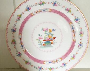 A pretty Royal Doulton pink floral plate
