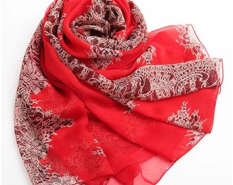 Red Floral Silk Chiffon Scarf  - Floral Mulberry Silk Scarf  - Red Silk Chiffon with Floral Print - AS S-2