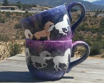Soup Mugs Running Horses  -set of 2