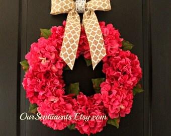 Spring Wreath Summer Wreath Hydrangea Wreath  Door wreaths door wreath Summer Celebrations Housewarming Gift Birthday Gift
