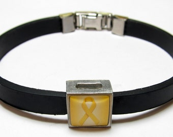 Bone Cancer Awareness Yellow Ribbon Link With Choice Of Colored Band Charm Bracelet