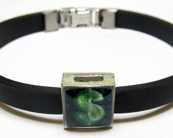 Shiny Dollar Sign Link With Choice Of Colored Band Charm Bracelet