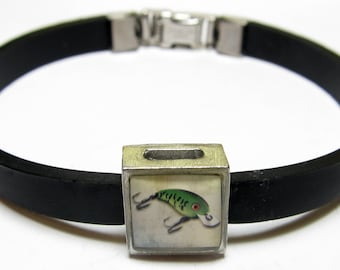 Fishing Lure Link With Choice Of Colored Band Charm Bracelet