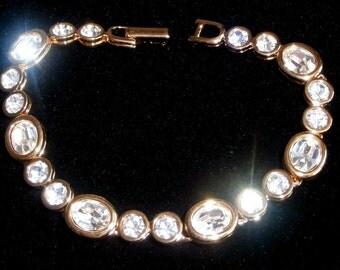 Signed Swarovski Bracelet Gold Plated with Bezel Set Crystals - Swan Logo - 26 grams