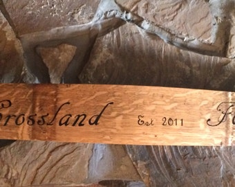 Custom sign on a barrel stave