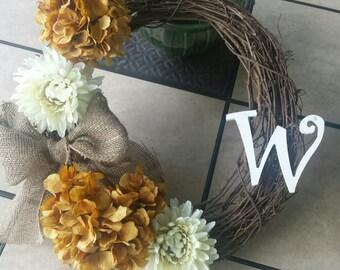 Hydrangea Monogrammed Wreath - Inital Wreath - Personalized Wreath - Monogram Wreath - Door Wreath - Wreath - Wedding Decor
