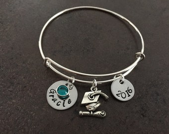 Graduation Gift,  Graduation Jewelry, Personalised, Inspirational Gifts, Class of 2017, Grad Cap Charm, Wire Bangle, Alex and