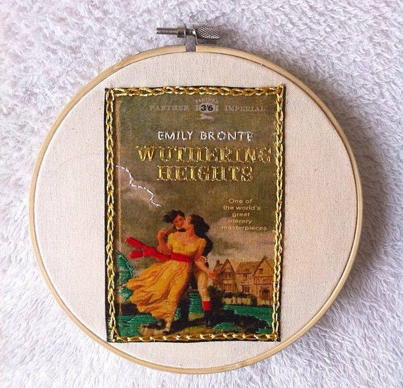 Book Cover Art Etsy ~ Wuthering heights book cover embroidery hoop art emily bronte
