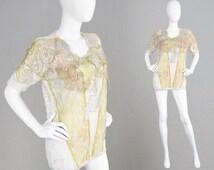 Vintage 80s Crochet Top Made in Italy Pastel Leaf Applique Boho Knit Shirt Ann Balon Designer Hippie Festival Top Tunic 1980s Summer Top