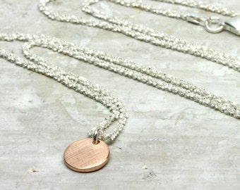 Pendant 333 rose gold ROUND 8 mm with 925 silver chain necklace