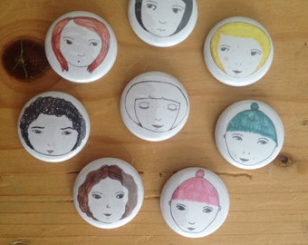 SET of 8 Small Face Pin Badges. Hand drawn unique designs. Pin Badge/Button. 25mm size. Accessories. Gifts. Only 1 full set available!