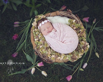 Newborn Floral Tieback, Handmade, Paper, Pink, Vintage, Headband, Child, Photography Prop, Photo Props, Natural