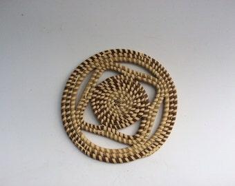 Vintage South Carolina Americana Folk Art Gullah Basket Trivet