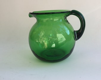 Vintage Mexican Handblown Green Glass Pitcher
