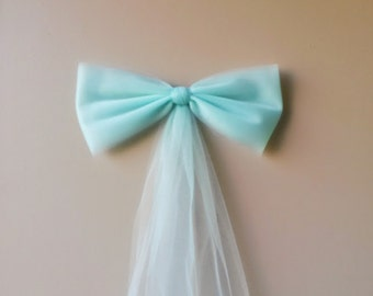 Tulle Mint Pew Bow, Church Pew Bow, Wedding Bow, Bridal Shower Bow Decoration, Mint Pew Bow, Wreath Door Mailbox Church Decoration