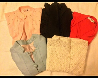 Lot of vintage 1950's 1960's clothing knitwear, jackets, cardigans