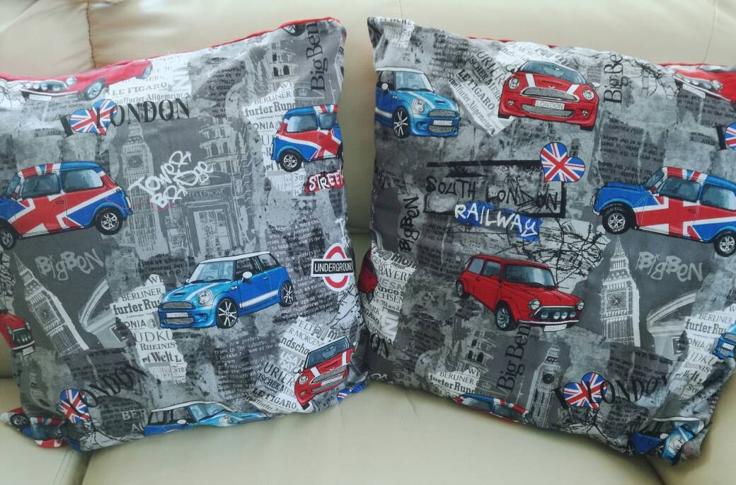 London Themed Cushions With New Mini And Classic Minis 45 X45