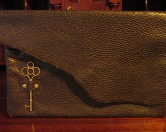 Steampunk Clutch Leather Accessory Brown Riveted Zipped Bag -- The  Locksmith
