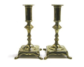 Vintage 1970s Pair of Brass Candle Sticks Candle Holders