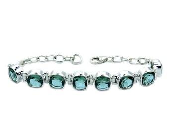 Green Purple Color Change Alexandrite & .925 Sterling Silver Bracelet , AE61