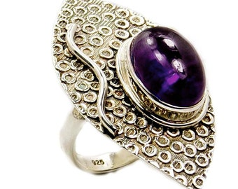 Huge Amethyst Ring Protection Stone Sterling Silver Ring Size 5 Jewelry P846