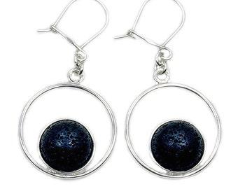 Volcanic Lava Rock & .925 Sterling Silver Dangle Earrings , AD583