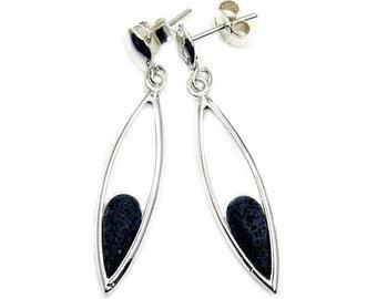 Volcanic Lava Rock & .925 Sterling Silver Dangle Earrings , AB770