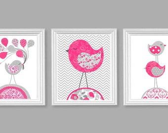 Bird Nursery Art, Girl's Nursery Decor, Grey and Bright Pink, Fuchsia, Baby Shower Gift, Baby Girl, Bird Canvas Art, Nursery Canvas Decor