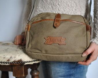 Vintage LUCAS canvas and leather messenger bag....(372)