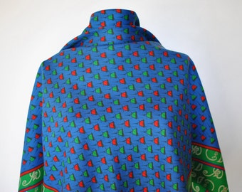 Vintage PRINTED SILK SCARF , hand rolled silk scarf.....(084)