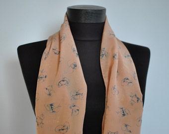 Vintage PRINTED SILK SCARF , hand rolled silk scarf....(133)