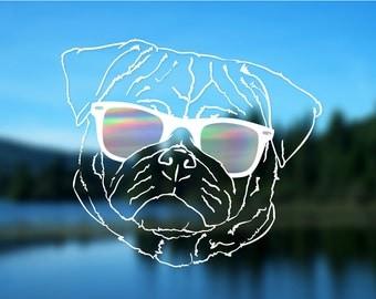 Pug Decal, Dog, Vinyl Decal, Car Decal, Bumper Sticker, Decal