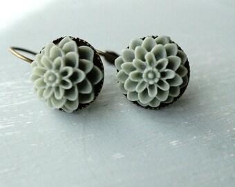 Earrings, Smoky grey resin dahlia brass dangle earrings