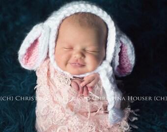 Baby Lamb Bonnet, Baby Bunny Bonnet, Chunky Knit Baby Hat, Newborn Photo Prop, Baby gift