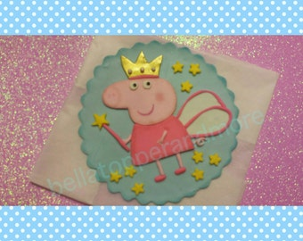 Peppa pig Fondant  cake topper. Peppa pig edible topper . Peppa pig fairy cake topper.