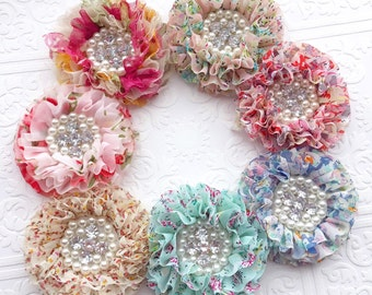 The Floral Ruffled Doll Headband or Clip