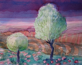 MIDNIGHT OLIVE TREES - Contemporary Art - Fine Art Painting - Tuscany Painting - Watercolour Painting - ElizabethAFox