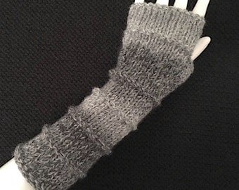 Knit Fingerless Gloves, Grey Hand Warmers, Fingerless Mitts, Marble Grey, Purl Bands - Long, FG-PBL103