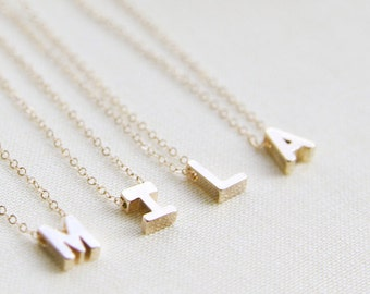 Uppercase Initial Necklace - Gold or Silver Capital Letter Necklace - Uppercase Name Necklace - Uma Necklace