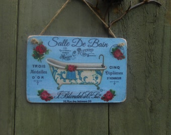 Plaque de porte salle de bains etsy - Salle de bain shabby ...