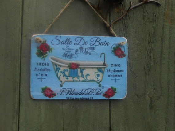Hanging wood sign salle de bain bathroom frenc decor shabby for Plaque pvc salle de bain
