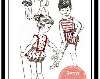 1950s Toddlers Sun Suit Romper - PDF Childs Pattern - PDF Instant Download Pattern
