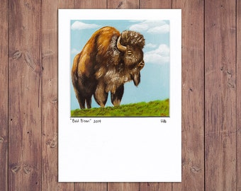 Bison Art Print, Matted to fit a 5x7 frame, Buffalo