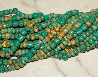 NEW CZECH Turquoise Striped Medley - 4MM