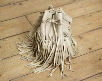 Handmade Real Genuine Leather Duffel Bag Beige Tassel Fringe Boho Festival Bucket Shoulder Bag Drawstring Duffle Handbag