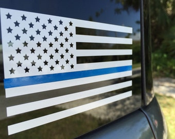 Thin Blue Line Flag Vinyl Decal White American Flag Police Cops LE FREE SHIPPING