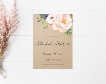 Boho Calligraphy Bridal Shower Invitation - DIY Printable Digital File - Black Stripe Gold Glitter - Watercolor Floral Boho