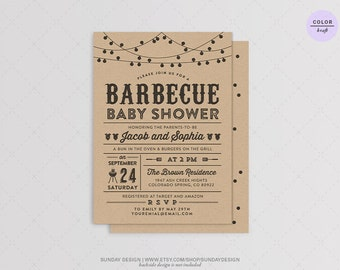Kraft Paper Lights BBQ Baby Shower Invitation Card - DIY Printable Digital Party File - Barbecue Party