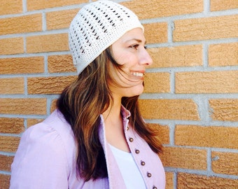 Spring crocheted lacy beanie